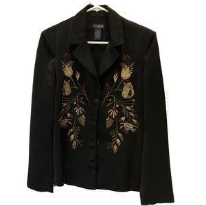 Eva Blue Black embroidered jacket sz 10